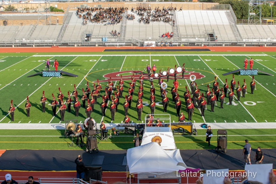 TMHS+Marching+Band+at+UIL+competition+at+Wildcat+Stadium.+