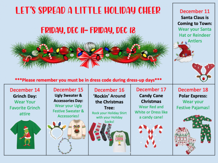 Holiday spirit themes for last week of the semester